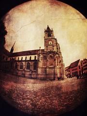 Konstanzer Münster (sapissipas) Tags: clocktower kirchturm turm blackandwhite fakelomo sepia fisheye schwarzweiss bw olloclip iphone church kirche münster münsterplatz konstanz 7dwf