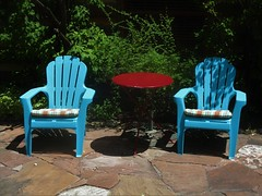 Two Blue Chairs (lesraquettes) Tags: blue chairs pairs outdoors patio southwestusa utah irony