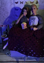 Movie on a wet Sunday evening (MaxxieJames) Tags: vittoria belmonte bastian hunter mattel barbie ken teresa made move superman fashion fashionista doll dolls collector date night movie film popcorn pizza