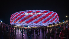 Allianz-Arena in Munich (alxfink) Tags: architecture building lights stadium football sports allianzarena munich bayern night lumix