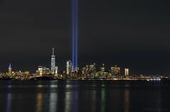 NYC @ 9/11 (Wils 888) Tags: 911 tributeinlight newyorkcity newyork nyc ny reflection skyscrappers skyline nightlights longexposure worldtradecenter statueofliberty empirestatebuilding brooklynbridge hudsonriver