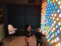Lights (kayatkinson-simson) Tags: maya kane siblings colouredlights lightwall highchair canberracentre