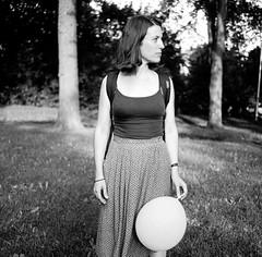 Marianne au parc (gguillaumee) Tags: film analog grain park montreal mtl rolleiflex mediumformat balloon gril woman marianne friend portrait hochelaga