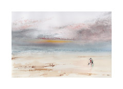 A la plage (Yvan LEMEUR) Tags: aquarelle watercolour acuarela plage beach personnagessuruneplage peinture mer sea ciel nuages