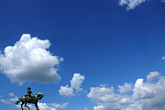 the sky over budapest (budapest, hungary) (bloodybee) Tags: budapest hungary europe trip travel street statue princeeugeneofsavoy horse sky clouds blue white