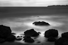 Pacific Sense (StefanB) Tags: 1235mm 2016 bw california clouds coast em5 geotag horizon longexposure monochrome outdoor pacific sea seascape redrockbeach