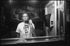 Me, at the Crowbar, Santa Fe (icki) Tags: june2017 nm newmexico santafe bar bathroom blackandwhite me selfportolet selfportrait