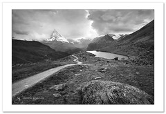 Incoming storm over Matterhorn (Horia Bogdan) Tags: matterhorn cervin cervino mountain peak lake stellisee zermatt switzerland landscape nature blackandwhite bw horiabogdan
