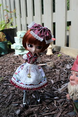 IMG_0544 (Dollymama2015) Tags: pullipmerl doll groovedoll redhead ginger lolitastyle dolldress handmadedollclothes sugarlattice gnome garden outdoors