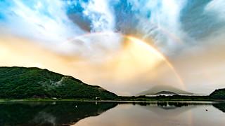 Lake Shoji sunsets rainbow