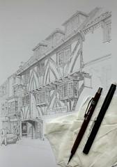 Coming along (Blue York) Tags: allantadams pencil drawing architecturalillustration illustration timberframebuilding oldbuilding lapiazzarestaurant goodramgateyork york