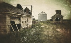 off vanbuskirk road... (BillsExplorations) Tags: abandonedfarm abandonedillinois abandoned ruraldecay decay forgotten farm illinois barn crib garage rural texture snapseed old shuttered dilapidated lanark broken