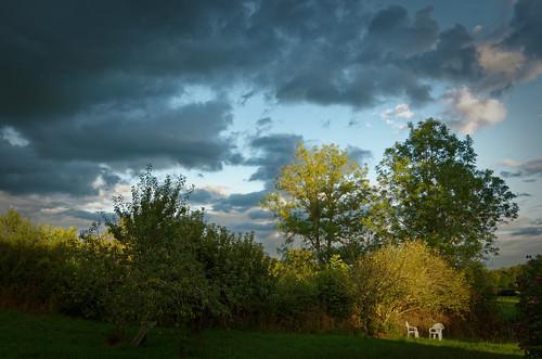 Jardin par temps orageux
