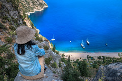 Butterfly Valley, Faralya, Fethiye, Muğla, Turkey (Feng Wei Photography) Tags: traveldestinations fethyie landscape landmark eastasia vacation euroasia turkeymiddleeast paradise famousplace coastline oludeniz bayofwater travel secluded alone lycianway outdoors relaxed horizontal lycia muglaprovince awe highangleview scenics hike colorimage turquoisecolored uzunyurt remote sea tourist female ölüdeniz beach outdoorpursuit beautyinnature ship gettingawayfromitall turquoisecoast cliff mediterraneanturkey highup turkishculture tourism mediterraneansea turkish