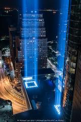 Tribute in Light - 9/11/17 (20170911-DSC02098) (Michael.Lee.Pics.NYC) Tags: newyork tributeinlight 911 commemorate garage rooftop washingtonstreet batterytunnel night longexposure architecture wtc worldtradecenter sony a7rm2 fe2470mmf28gm