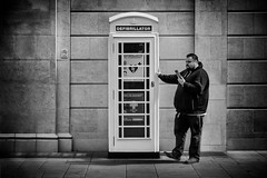 defibrilator (Daz Smith) Tags: dazsmith fujixt20 fuji xt20 andwhite bath city streetphotography people candid portrait citylife thecity urban streets uk monochrome blancoynegro blackandwhite mono firstaid telephonebox man