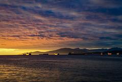 Sunset in Burrard Inlet (Katrina Wright) Tags: img0294 ships bowenisland sunset fall dusk goldenhour goldenlight burrard inlet