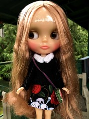 """Joy's hair clean but still frizzy in the front.  I'm going to have to boil it  to get rid of those """"box"""" kinks. How I wish she had Winterish Allure's amazing hair. Joy's wearing an ensemble by the talented #WoollyRocker."""
