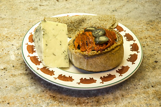 17. Staffs Oatcakes and mixed herb cheese with Trentham Gardens pie on Bridgewater plate by Michael Cross