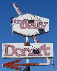 The Jelly Donut (jimsawthat) Tags: california desert yuccavalley donuts vintagesign arrow metalsign