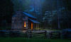 Evening in Good Old Days - 0827 (J & W Photography) Tags: 2017 april cadescove gsmnp greatsmokymountainsnational jwphotography johnoliverplace smokies spring bluehour grass landscape lightpainting nationalpark nature trees woodfence greatsmokymountainsnationalpark