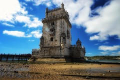 Gateway to Lisbon (leewoods106) Tags: belem belémtower lisbon portugal europe westerneurope unescoworldheritage unescoheritagesight beach blue bluesky city capitalcity citybreak historiccity citycentre greatcity oldcity photographer photography photo photos canon canonefs1018mm canoneosm beautiful beautifulview beautifulmoments wonderfulplaces mustseeplaces trip vacation holiday holidays journey traveling traveler travel tower historic history sand water sea sailing sail sailingboats white clouds cloudy cloud walkway people green