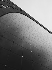 Markthal. Rotterdam, Netherlands (Darren Johnson / iDJ Photography) Tags: rotterdam holland netherlands travel building architecture europe photography street urban city blackandwhite monochrome lines line pattern patterns window glass