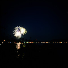 7.3.17 Fireworks Loon Lake Rollei E6 E04 (Jcicely) Tags: 2017 e6 fireworks fourthofjuly july loonlake loonlakewithmarvin reflection rollei sky water