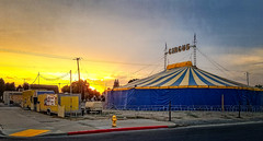 THE SUN RISES ON THE BIG TOP (akahawkeyefan) Tags: tent circus kingsburg davemeyer sunrise