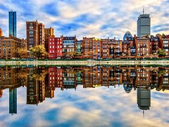 Reflecting Boston ((Jessica)) Tags: brownstones newengland sky iphone6s iphone symmetry water massachusetts boston clouds esplanade reflections backbay shotoniphone