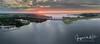 Panorama image Bridge between mainland and reclaimed land (Gooi en Eemland van Boven by Jacques de Kort) Tags: pano gooimeer ijmeer hollandsebrug a6 zonsondergang sunset naarderbos
