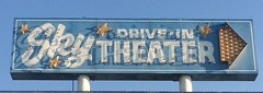 SKY DRIVE IN YUCCA VALLEY CA. (2) (ussiwojima) Tags: skydrivein drivein theatre movie yuccavalley california neon bulb arrow advertising sign