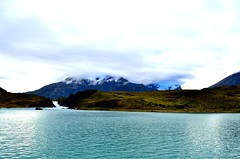 A short Glance at Salto Grande during ferry-boat trip, Torres del Paine (Björn Sommer) Tags: vacation southamerica landscape travelling chile torresdelpaine water mountains lake nature silence calm clouds sky walk trek trekking wtrek boattrip boat ferry