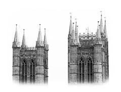 Spires (phdlou) Tags: church cathedral lincolncathedral black white monochrome blackandwhite mono spires building history historic houseofworship religion