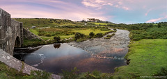 Colorful sunset in Dartmoor [Explored] (Rutger.Zegveld) Tags: sunset colors sky purple blue red clouds river green nature landscape landschap traveling travel panorama wildlife gras rocks clear water rivier hour reflection