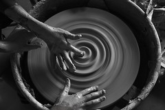 Three hands are better than two (Beth Reynolds) Tags: clay pottery ceramics wheel camp friends create creative throw throwing circles curves slow blur hands morean