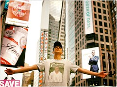 When I Knew York (Steve Lundqvist) Tags: new york usa states united america manhattan stati uniti travel trip viaggio traveling model bw urban city urbanscape portrait ny nyc persone ritratto fashion moda mood attractive beauty crossing street road crossroad streetphotography time square boy cap hat baseball cassius clay mohammed ali shirt tshirt nikon
