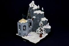 Double Trouble on Staor Mountain (soccersnyderi) Tags: lego moc creation model skyrim tower dwarven dwarves mitgardian mitgardia snow winter landscape drifts tree pine bush flag rockwork rocks cliff mountain stone hexagon doorway interior room floor pattern trolls polar bear