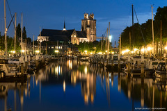 Hometown Harbor (Rutger.Zegveld) Tags: longexposure sony a7 tripod lights lighttrails city boats river blue water sunset hour church harbor port reflect reflectione reflection