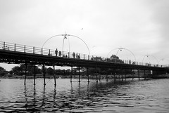 Piering across the Marine Lake (zawtowers) Tags: southport merseyside north west england cloudy dry sunday 22nd august 2017 day out visit seaside resort destination beach sea pier second longest pleasure grade ii listed victorian opened 1860 across marine lake black white monochrome mono vintage