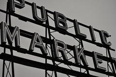 Pike place (jessicagull) Tags: blackandwhite monochromatic monochrome pikeplacemarket pikeplace publicmarket market seattle downtownseattle