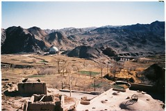 Kharanaq, Iran - The bridge 2 (grassybrownie) Tags: landscape scenery mountain mountains monochrome film kodak camera village fields sky skyline skyporn houses oldhouse old ontheroad house buildings building nature nofilter natural blue yellow sand dirt art arts earth architecture architect sun shadow sunshine sunset sunlight light dark green clor colorful colors cold winter window door wall white lomography lomo kharanaq iran persia persian iranian photography photographer photo