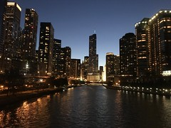 Chicago Skyline (Tyson1976) Tags: chicago chicagoillinois chicagoskyline millennium parkmillennium parkthe cloudtrump towernight time pictureslake michiganchicago river