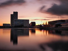 Theater Almere-Stad (f.dalmulder4) Tags: olympus omdem5 1240mmf28pro almere almerestad flevoland thenetherlands microfourthirds micro43 mft weerwater funfair theater sunset longexposure le ndfilter 10stops bw water sky reflection greatphotographers greaterphotographers