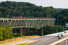 CN U70361 B&LE River Bridge (JAlexLang) Tags: harmarville pa usa alleghenyriver turnpike sd70 ic ble canadiannational
