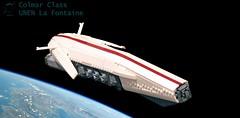 UNEN La Fontaine (John Moffatt) Tags: lego spaceship space craft une unen la fontaine cruiser run red makes it faster fullanimefins