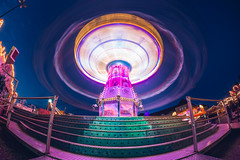 Chairoplane in motion (thethomsn) Tags: chairoplane kettenkarussell motion germany bluehour night festival color longexposure thethomsn fisheye moody carousel funfair augsburg