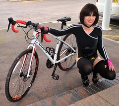 Go on then one more bike pic (Miss Nina Jay) Tags: socks heels