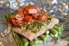 Campfire Cooking: Pesto Salmon and Veggies Foil Pack