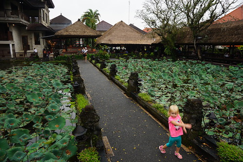 Madeleine running through the Ubud Water Palace